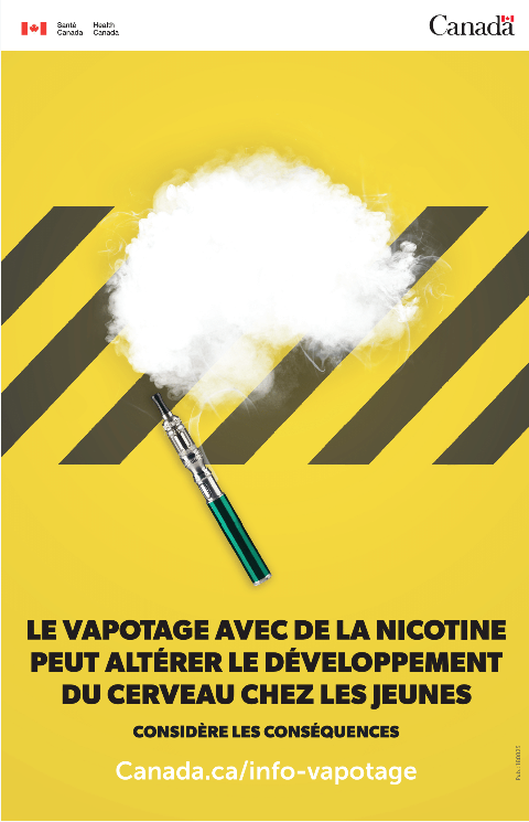 Yellow poster with vape product and brain shape in vapour