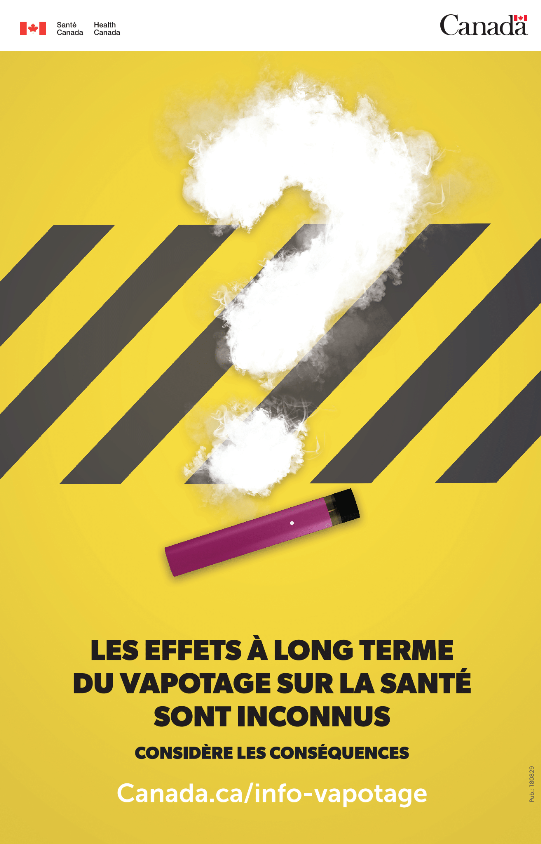 Yellow poster with vape product and question mark shape in vapour